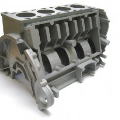 Velký díl motoru odlitý z 3D vytištěné formy