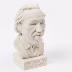 Světlá busta Einsteina vytištěná z písku na 3D tiskárně