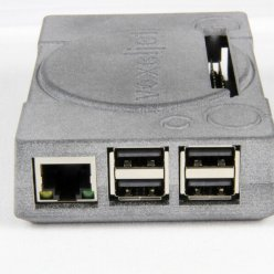 Vytištěná skříňka na USB a síťové konektory na bílém pozadí