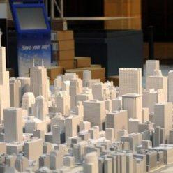 3D model městského panorama s výškovými budovami