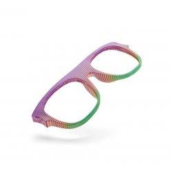 Vícebarevná obruba brýlí vyrobená 3D tiskem na bílém pozadí
