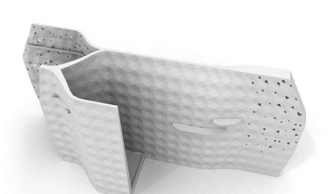 Sprcha z 3D tiskárny Voxeljet.