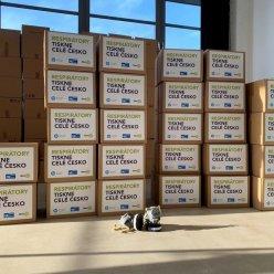 U vysokého okna stojí ve sloupcích vyskládané označené krabice