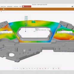 Na dílu je pomocí heatmapy zachycena geometrická přesnost a odchylky naskenovaného dílu od původního digitálního modelu