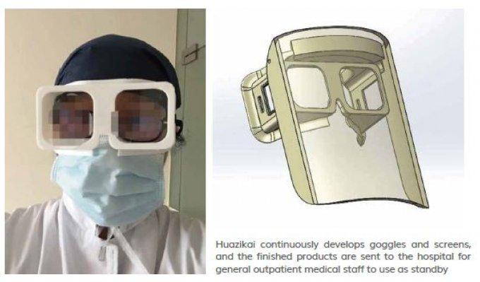 Digitální model a vedle nich finální podoba ochranných brýlí z SLA 3D tiskárny